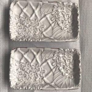 2 Mud Pie Hydrangea Dip Ring Trinket Dishes EUC